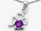 Celtic Love by Kelly Round Genuine Amethyst Lucky Clover Pendant