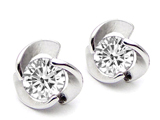 Original Star K Round Genuine White Topaz Flower Earring Studs