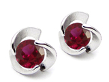 Original Star K Round 6mm Created Ruby Flower Earring Studs