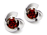 Original Star K Round 6mm Genuine Garnet Flower Earring Studs
