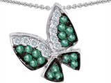Original Star K™ Butterfly with Genuine Emerald and Diamond Pendant