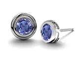 Original Star K™ Round Genuine Tanzanite Earrings Studs style: 303074