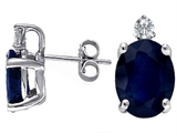 Tommaso Design Genuine Sapphire and Diamond Earring Studs