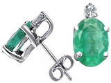 Tommaso Design Genuine Emerald and Diamond Earring Studs