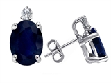 Original Star K Oval 7x5 GENUINE Sapphire and Diamond Earring Studs