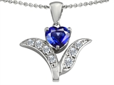 Original Star K Created Sapphire Flower With 7mm Heart Pendant