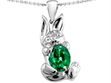 Original Star K Bunny Of Love Pendant With Oval 10x8 Simulated Emerald