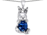 Original Star K Love Bunny Pendant With Created Sapphire Oval 10x8mm