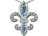 Original Star K Genuine Aquamarine and Diamond Fleur De Lis Pendant