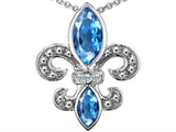 Original Star K Genuine Blue Topaz and Diamond Fleur De Lis Pendant