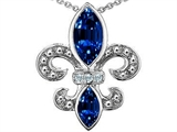 Original Star K Created Sapphire and Genuine Diamond Fleur De Lis Pendant