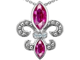 Original Star K Created Pink Sapphire and Genuine Diamond Fleur De Lis Pendant
