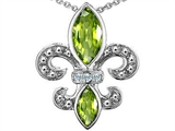 Original Star K Genuine Peridot Fleur De Lis Pendant