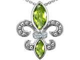 Original Star K™ Genuine Peridot Fleur De Lis Pendant style: 303122