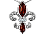Original Star K™ Genuine Garnet and Diamond Fleur De Lis Pendant