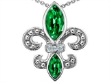 Original Star K Simulated Emerald and Genuine Diamond Fleur De Lis Pendant