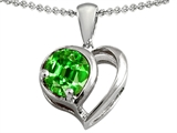 Star K™ Heart Shape Pendant Necklace With Round 7mm Simulated Emerald style: 303129