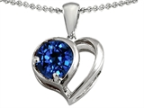 Original Star K Heart Shape Pendant With Round Created Sapphire
