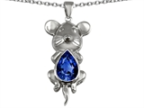 Original Star K Large Mouse Pendant With 11x9 Pear Shape Created Sapphire