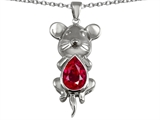 Star K™ Large Mouse Pendant Necklace With 11x9mm Pear Shape Created Ruby style: 303134