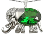 Original Star K Elephant Pendant With Oval Simulated Emerald