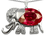 Original Star K Elephant Pendant With Oval Created Ruby
