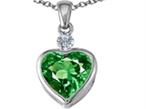 Star K™ 10mm Heart Shape Simulated Emerald Heart Pendant Necklace style: 303150