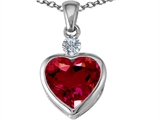 Star K™ Heart Shape 10mm Created Ruby Heart Pendant Necklace style: 303151