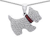 Original Star K™ Dog Pendant With Round Created Ruby And Cubic Zirconia