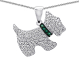 Original Star K Dog Pendant With Round Simulated Emerald And Cubic Zirconia