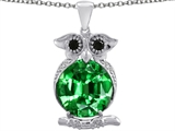 Original Star K Owl Pendant With Oval Simulated Emerald