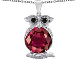 Original Star K Owl Pendant With Oval Created Ruby