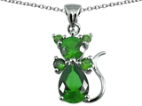 Original Star K Cat Pendant With Simulated Emerald