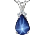 Tommaso Design™ Pear Shape Created 10x7mm Star Sapphire and Diamond Pendant style: 303190