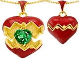 Original Star K Puffed Red Enamel Heart Pendant with May Birthstone Simulated Emerald Surprise Inside