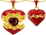 Original Star K Puffed Red Enamel Heart Pendant with January Birthstone Genuine Garnet Surprise Inside