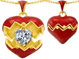 Original Star K Puffed Red Enamel Heart Pendant with April Birthstone Genuine White Topaz Surprise Inside