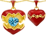 Original Star K Puffed Red Enamel Heart Pendant with December Birthstone Genuine Blue Topaz Surprise Inside