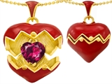 Original Star K Puffed Red Enamel Heart Pendant with July Birthstone Simulated Ruby Surprise Inside
