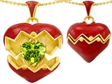 Original Star K Puffed Red Enamel Heart Pendant with August Birthstone Genuine Peridot Surprise Inside