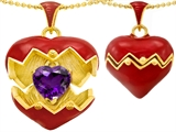 Original Star K Puffed Red Enamel Heart Pendant with February Birthstone Genuine Amethyst Surprise Inside