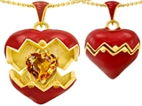 Original Star K Puffed Red Enamel Heart Pendant with November Birthstone Genuine Citrine Surprise Inside
