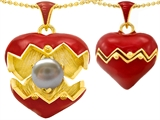 Original Star K Puffed Red Enamel Heart Pendant with June Birthstone Genuine 7mm Pearl Surprise Inside