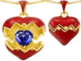Original Star K™ Puffed Red Enamel Heart Pendant with September Birthstone Simulated Sapphire Surprise Inside