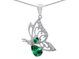 Original Star K Butterfly Pendant With Pear Shape Simulated Emerald
