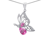 Original Star K™ Butterfly Pendant With Pear Shape Created Pink Sapphire