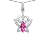 Original Star K™ Butterfly Pendant Made with Created Pink Sapphire style: 303211