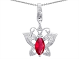 Original Star K Butterfly Pendant Made with Created Ruby