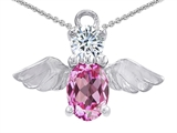 Star K™ Angel Of Love Protection Pendant Necklace Made With Created Pink Sapphire style: 303221