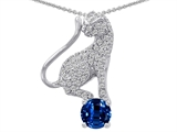 Original Star K™ Cat Pendant With 7mm Created Round Sapphire